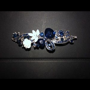 Lovely Navy Blue Jeweled Barrette NIP Silver